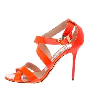 JIMMY CHOO FLUORESCENT NEON ORANGE SANDALS HEELS